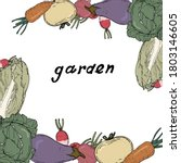 frame made of vegetable garden...   Shutterstock .eps vector #1803146605