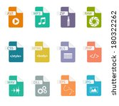 set of file formats icons | Shutterstock .eps vector #180322262