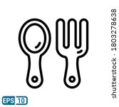line style icon of spoon and...
