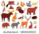 cute animals. cartoon forest... | Shutterstock .eps vector #1803333022