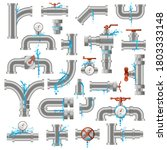 water pipe leak. broken damaged ... | Shutterstock .eps vector #1803333148