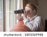 Nosy Neighbor Spying Through...