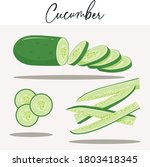 cucumber cut and slice vector... | Shutterstock .eps vector #1803418345