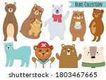 bears set in cartoon style.... | Shutterstock .eps vector #1803467665