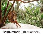 Tourist Woman Swing On Wicker...