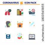 9 flat color coronavirus... | Shutterstock .eps vector #1803565855