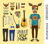 make hipster set with pants... | Shutterstock .eps vector #180360452