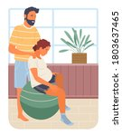 pregnancy preparing  wife and... | Shutterstock .eps vector #1803637465
