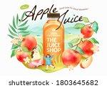 fresh apple juice ad in 3d... | Shutterstock .eps vector #1803645682
