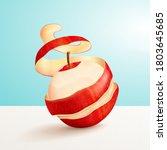 red peeled apple in 3d... | Shutterstock .eps vector #1803645685