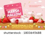 strawberry marshmallow ad in 3d ... | Shutterstock .eps vector #1803645688