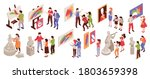 isometric art gallery icon set... | Shutterstock .eps vector #1803659398