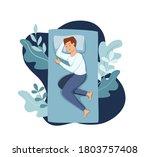 man sleep in bed at night... | Shutterstock .eps vector #1803757408
