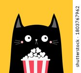 black cat popcorn box. cute... | Shutterstock . vector #1803767962