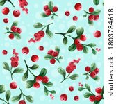 lingonberry. seamless pattern...   Shutterstock . vector #1803784618