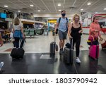 Small photo of Crawley, Sussex, UK- 08.05.2020 : the departure lounge of Gatwick Airport which start to get busy since travel corridors was established with varies countries allowing quarantine free travel.