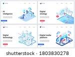 isometric digital social media... | Shutterstock .eps vector #1803830278