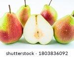 Sliced Fresh Red Crispy Pear...