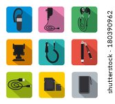 phone accessories flat icon set   Shutterstock .eps vector #180390962