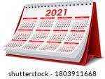 red 2021 3d desktop calendar in ... | Shutterstock .eps vector #1803911668
