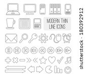 set of modern thin line icons...
