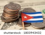 Stack Of Coins With Cuba Flag...
