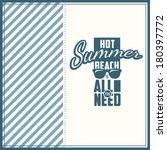 vector summer poster. creative... | Shutterstock .eps vector #180397772