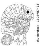 little turkey bird and pumpkin... | Shutterstock .eps vector #1803987415