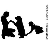 vector silhouette of a family... | Shutterstock .eps vector #180401228