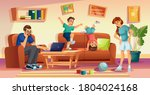 angry mother and father annoyed ...   Shutterstock .eps vector #1804024168