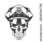 vintage monochrome skull with... | Shutterstock .eps vector #1804046758