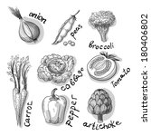 hand drawn vegetables set | Shutterstock . vector #180406802