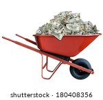 Pile Of Money In A Wheel Barrow
