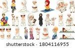 set of muslim kids character... | Shutterstock .eps vector #1804116955