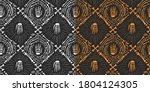 set halloween doodle pattern... | Shutterstock .eps vector #1804124305