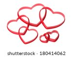 several red heart shaped cookie ... | Shutterstock . vector #180414062