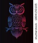Retro Owl Style Vector...