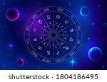astrology wheel with zodiac...   Shutterstock .eps vector #1804186495