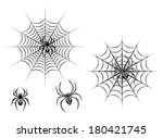 black danger spiders on web for ... | Shutterstock .eps vector #180421745