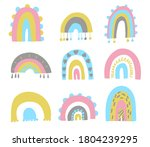 cute set of hand drawn rainbows....   Shutterstock .eps vector #1804239295