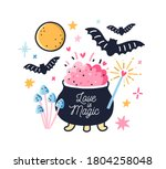 fairy pot with boiled love... | Shutterstock .eps vector #1804258048