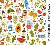 colorful hand drawn vegan food  ... | Shutterstock .eps vector #1804258108