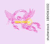 Pink Angel With Wings And...
