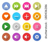 16 media icon set 06  white... | Shutterstock .eps vector #180436286