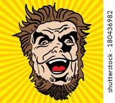 crazy bearded man cartoon... | Shutterstock .eps vector #180436982
