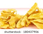 sliced yellow cassava fried and ... | Shutterstock . vector #180437906