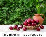 Big Red Cherries In Basket...