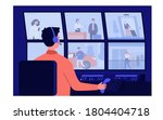 security service worker sitting ... | Shutterstock .eps vector #1804404718