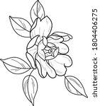 peony art work tattoo design | Shutterstock .eps vector #1804406275