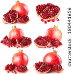 collection of fresh pomegranate ... | Shutterstock . vector #180441656